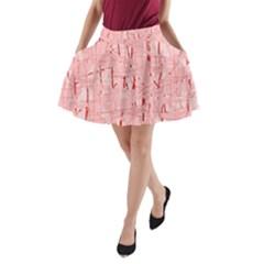 Elegant pink pattern A-Line Pocket Skirt
