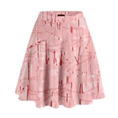 Elegant Pink Pattern High Waist Skirt
