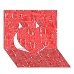 Red pattern Heart 3D Greeting Card (7x5)