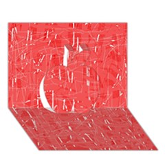Red pattern Apple 3D Greeting Card (7x5)