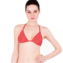 Red pattern Bikini Top