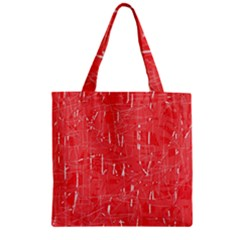 Red pattern Zipper Grocery Tote Bag