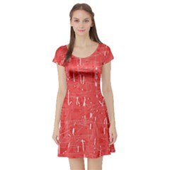 Red pattern Short Sleeve Skater Dress