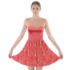 Red pattern Strapless Dresses