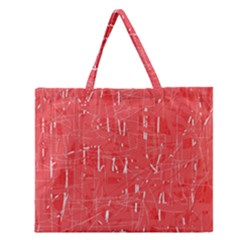 Red Pattern Zipper Large Tote Bag