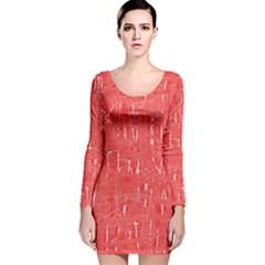 Red pattern Long Sleeve Velvet Bodycon Dress