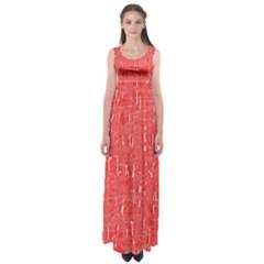 Red pattern Empire Waist Maxi Dress