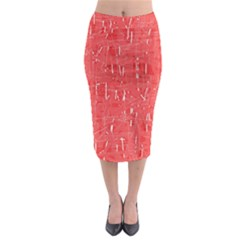 Red pattern Midi Pencil Skirt