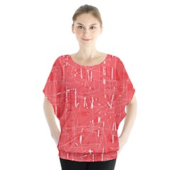 Red Pattern Batwing Chiffon Blouse