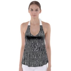 Gray pattern Babydoll Tankini Top
