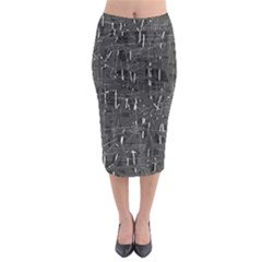 Gray Pattern Midi Pencil Skirt