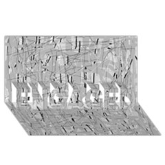 Gray pattern ENGAGED 3D Greeting Card (8x4)
