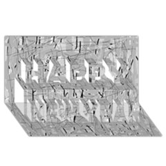 Gray pattern Happy New Year 3D Greeting Card (8x4)