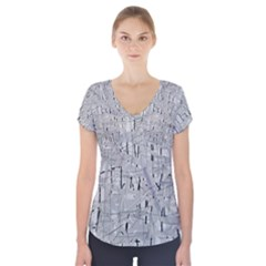 Gray pattern Short Sleeve Front Detail Top