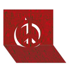 Red pattern Peace Sign 3D Greeting Card (7x5)