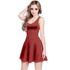 Red pattern Reversible Sleeveless Dress