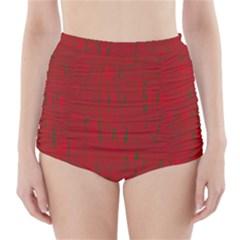 Red Pattern High Waisted Bikini Bottoms