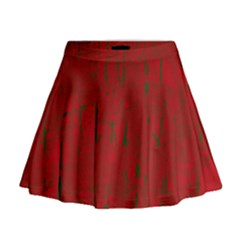 Red pattern Mini Flare Skirt