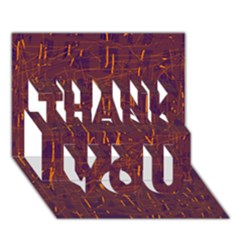 Purple pattern THANK YOU 3D Greeting Card (7x5)