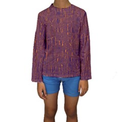 Purple Pattern Kid s Long Sleeve Swimwear