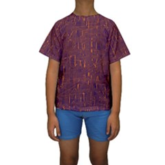 Purple pattern Kid s Short Sleeve Swimwear