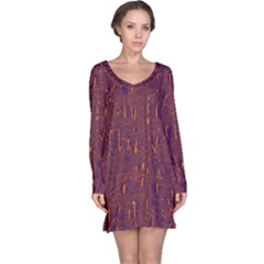 Purple pattern Long Sleeve Nightdress