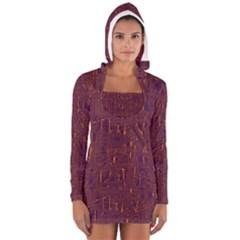 Purple Pattern Women s Long Sleeve Hooded T Shirt
