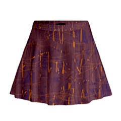 Purple pattern Mini Flare Skirt