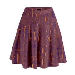 Purple pattern High Waist Skirt