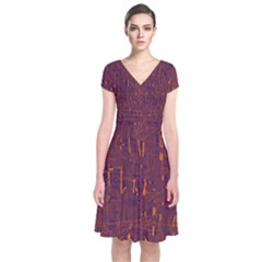 Purple pattern Short Sleeve Front Wrap Dress