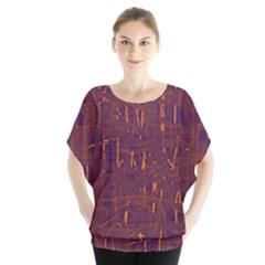 Purple pattern Batwing Chiffon Blouse