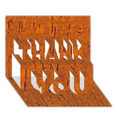 Orange pattern THANK YOU 3D Greeting Card (7x5)