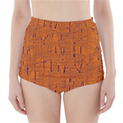 Orange pattern High-Waisted Bikini Bottoms
