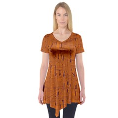 Orange pattern Short Sleeve Tunic