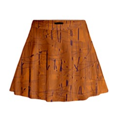 Orange Pattern Mini Flare Skirt