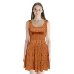 Orange pattern Split Back Mini Dress