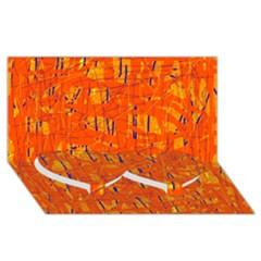 Orange pattern Twin Heart Bottom 3D Greeting Card (8x4)