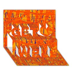 Orange pattern Get Well 3D Greeting Card (7x5)