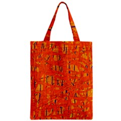 Orange pattern Zipper Classic Tote Bag