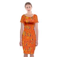 Orange Pattern Classic Short Sleeve Midi Dress