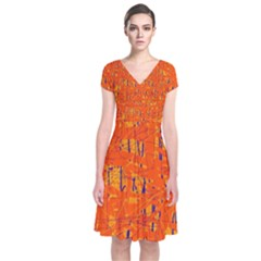 Orange pattern Short Sleeve Front Wrap Dress