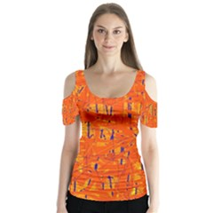 Orange pattern Butterfly Sleeve Cutout Tee