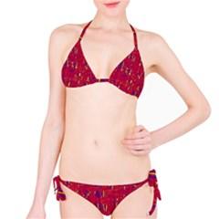 Red and blue pattern Bikini Set