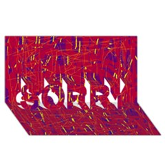 Red and blue pattern SORRY 3D Greeting Card (8x4)
