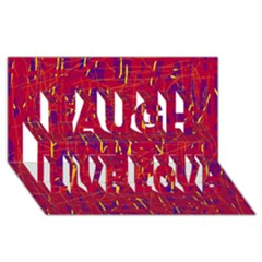 Red and blue pattern Laugh Live Love 3D Greeting Card (8x4)