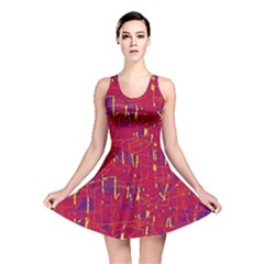 Red and blue pattern Reversible Skater Dress