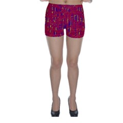 Red and blue pattern Skinny Shorts