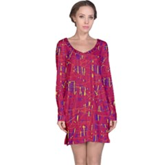 Red and blue pattern Long Sleeve Nightdress