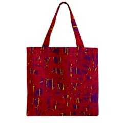 Red and blue pattern Zipper Grocery Tote Bag