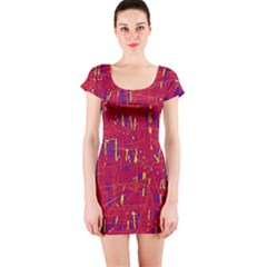 Red and blue pattern Short Sleeve Bodycon Dress